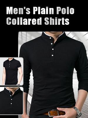 Mens Casual Regular Fit Long Sleeve Plain Polo T-Shirts Lapel Business Button Shirts S-2XL