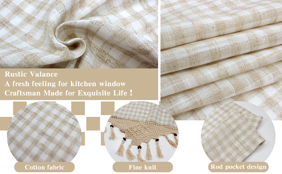 details of rustic valance, adds fresh feeling to your room