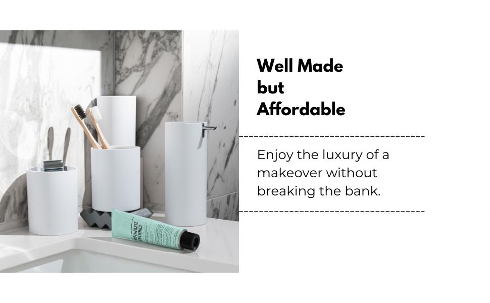 Modern bathroom accessories set, sleek matte white soap dispenser, matte white toothbrush holder