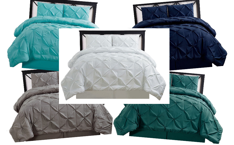 4-Piece Oxford Pinch Pleated Comforter Sets