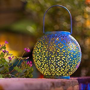 blue solar lantern