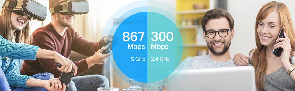 867 Mbps em 5 GHz ou 300 Mbps em 2.4 GHz