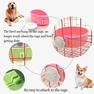 Crate dog bowl for cage hanging