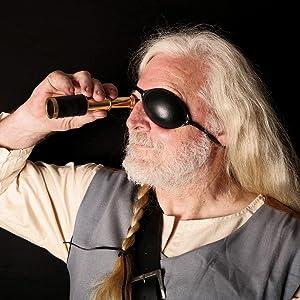 Mythrojan Black Leather Eye Patch Medieval Renaissance Fair LARP Pirate Cosplay…