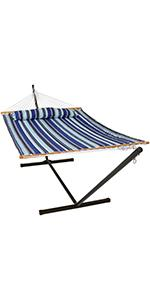 Sunnydaze Quilted Fabric Hammock Bed with 12-Foot Stand - Catalina Beach