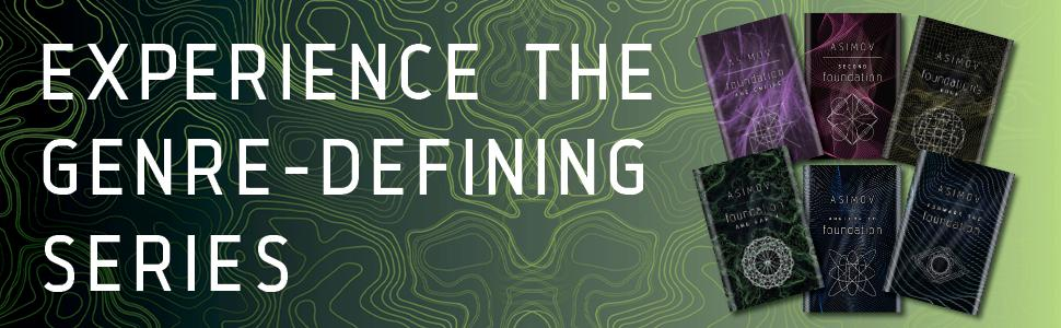 """Green background with topographical lines, six book covers. """"Experience the genre-defining series"""""""