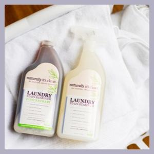 Laundry Stain Remover and Laundry Concentrate products on laundry in laundry basket