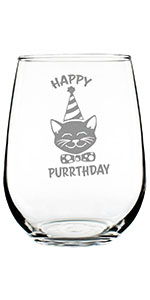 Text says Happy Purrthday, with image of cat face wearing a party hat and bowtie.