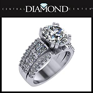 3.00 Carat Simulate Diamond Engagement Ring-Round amp; Baguette 5.00ct