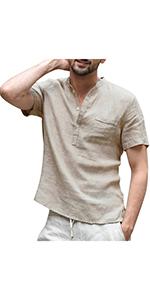 Men's Solid Color Linen T-Shirt