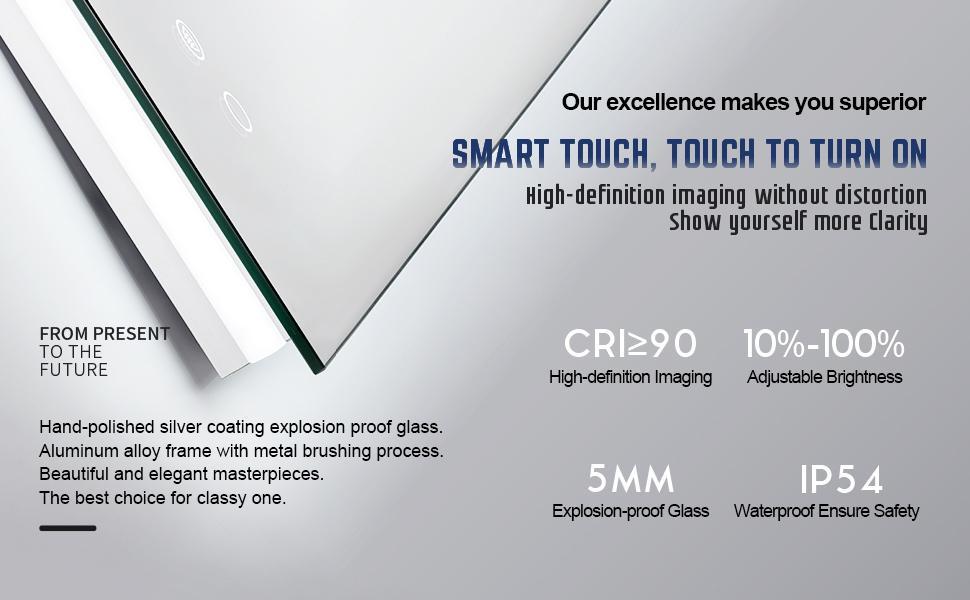 Smarta Touch,CRI90+,Adjustable Brightness,5mmExplosion-proof Glass ,IP54Waterproof Ensure Safety