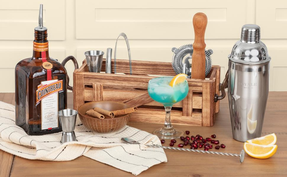 Our mixology bartender kit with a Blue Hawaiian cocktail made with it.