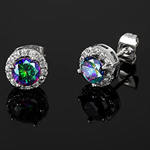 halo cz rainbow stud earrings