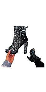 High Heel Peep Toe Ankle Booties Leather Boots Wedges Platform Boots for Women