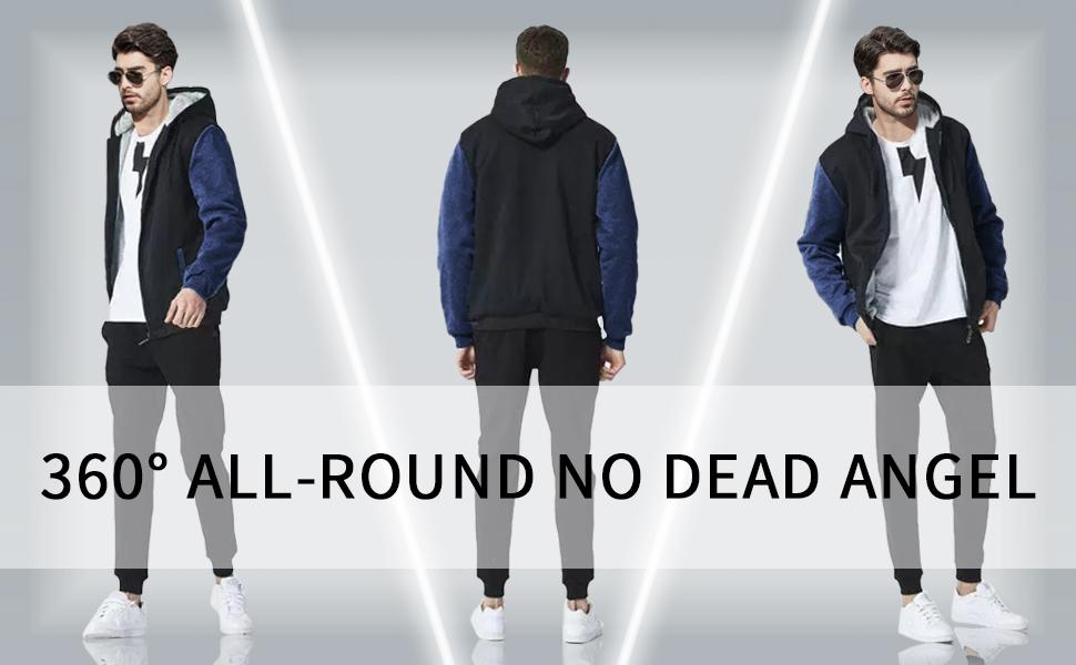 Men's Fleece Hoodie Jacket Thicken Sweatshirt Full Zip Winter Sherpa Coat