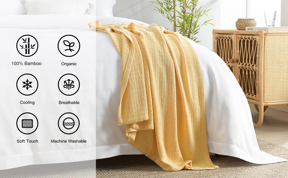 Yellow decorative throw blanket
