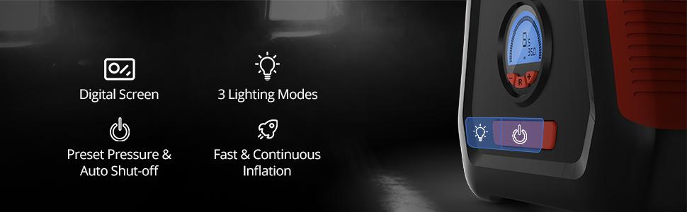 It incorporates a LED flashlight, tire pressure gauge, and tire inflator in one device.