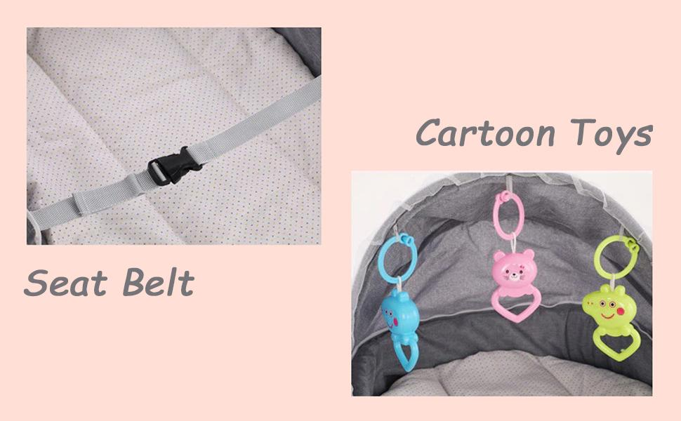 seat belt and cartoon toys