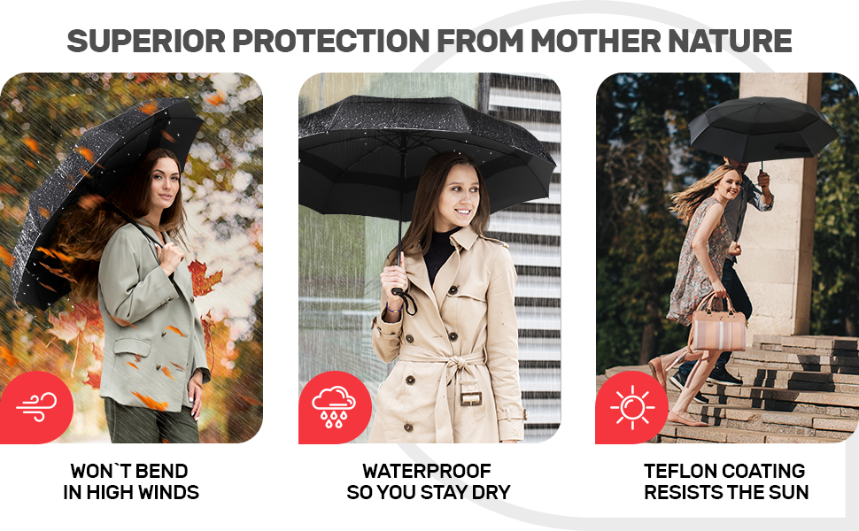 Rain umbrellas offer superior protection from wind, rain, and sun