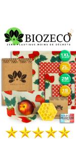 emballage cire d abeille reutilisable francais biozeco zéro déchet loomy bee wrap beewrap bio