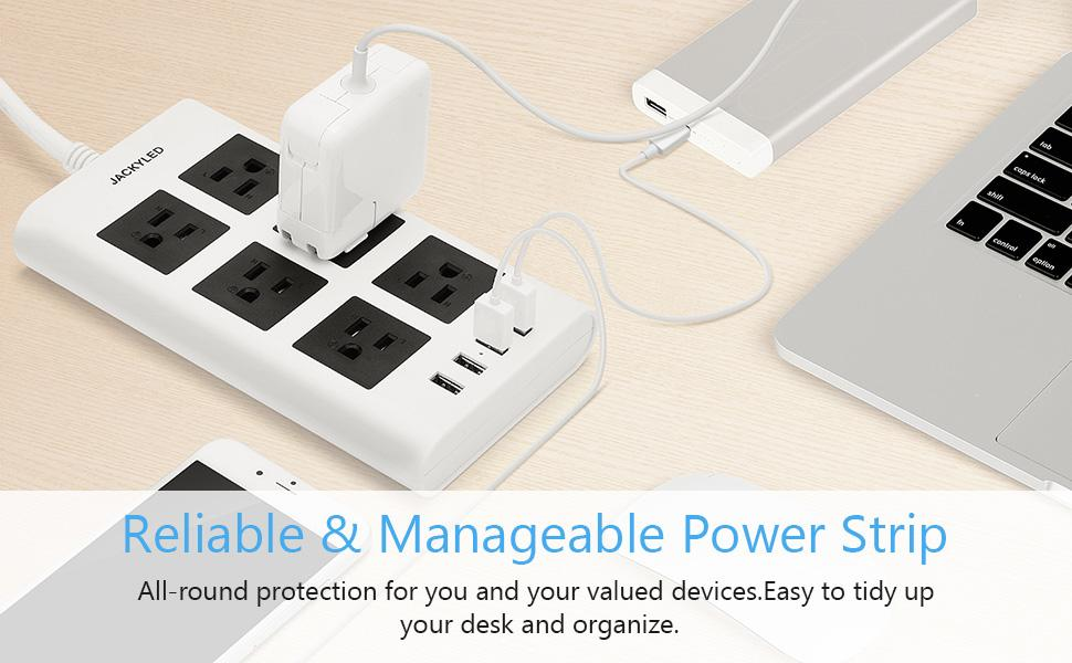 6 outlet power strip with usb ports