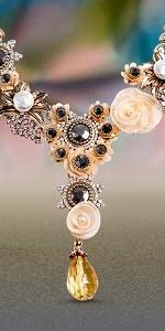 Floral rhinestone rose teardrop necklace yellow victorian style
