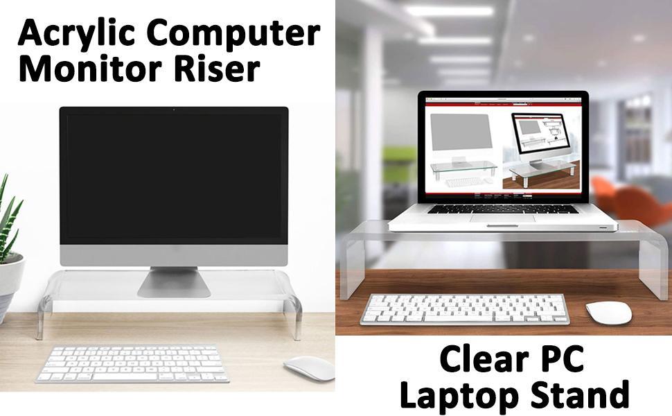 Acrylic Computer Monitor Riser  Clear PC Laptop Stand