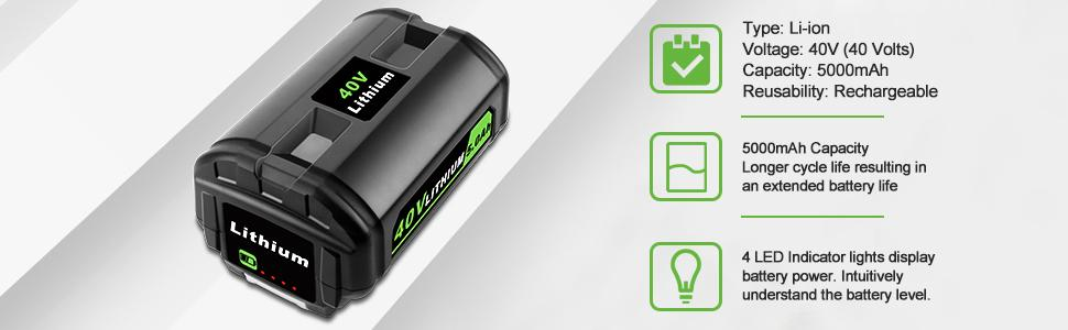 40V 5.0Ah Lithium-Ion Battery Compatible with Ryobi 40 Volt Cordless Power Tool OP4015 OP4026