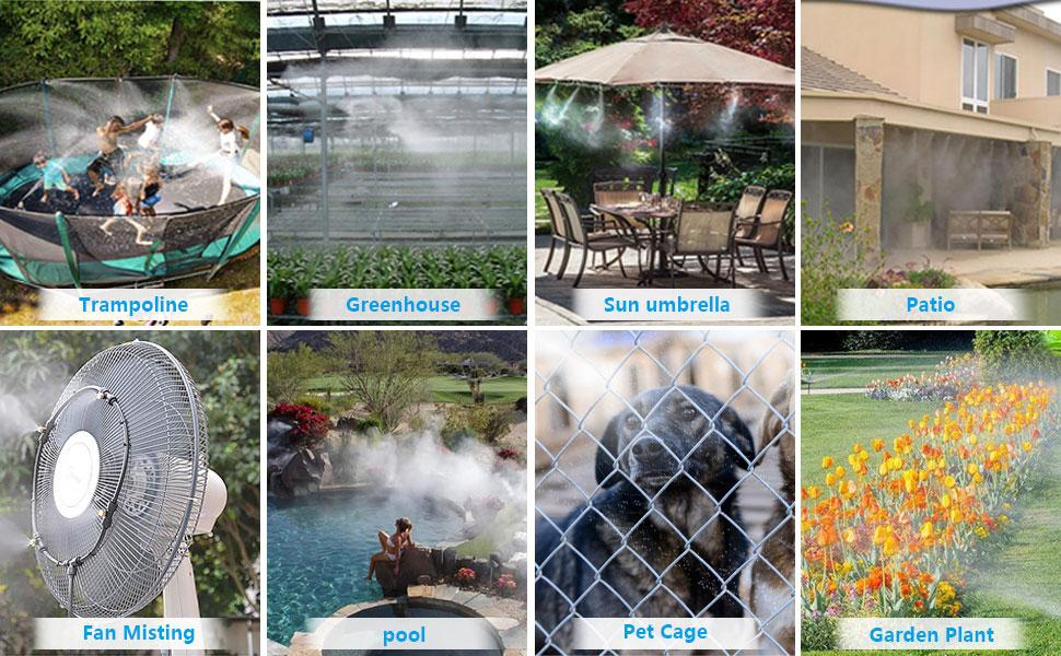 """3//4/"""" 18M 59 FT Misters for Outside DIY Mister Cooling Kit for Outdoor Garden Trampoline Greenhouse XDDIAS Misting Cooling System for Patio PE Misting Line+24 Mist Nozzles+A Adapter"""