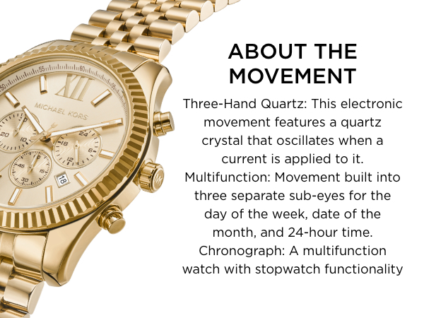 Gold Michael Kors Watch with Chronograph Dials Text reads About the movement