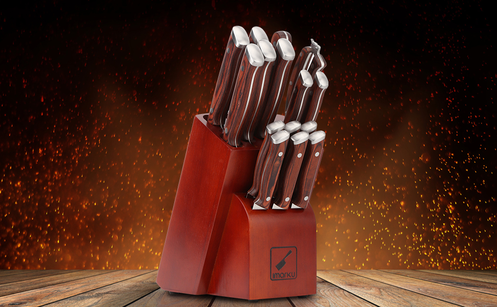 Kitchen knives set with block