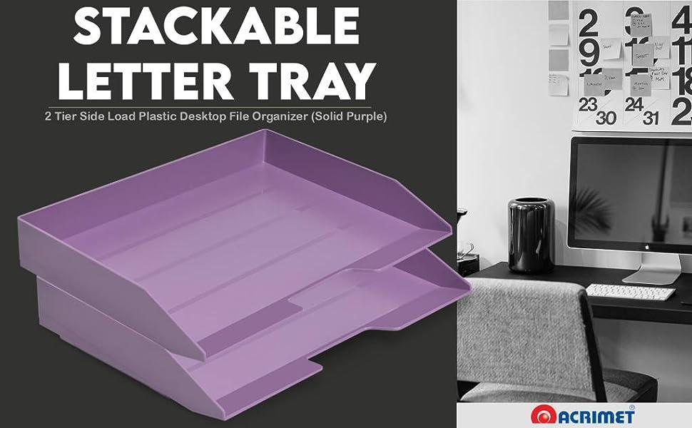 Acrimet Stackable Letter Tray 2 Tier Side Load Plastic Desktop File Organizer Solid Purple Color'