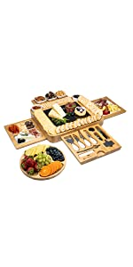 Four Sided Cheese Board Set - 15.7 x 13.4 x 2.2 Inch