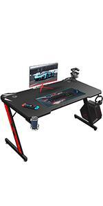 Z shaped gaming desk