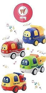 4Pcs Music Pull Back Car Toys