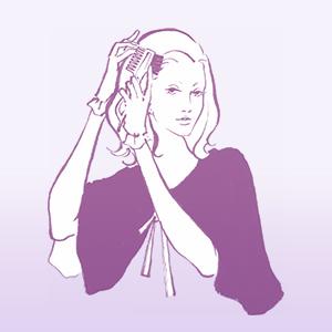 ケープをつけた女性が コームブラシで 混合クリームを塗布している イラスト