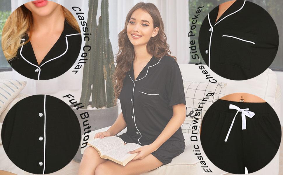 Ekouaer womens short sleepwear set made from 95% Polyester+5% Spandex.