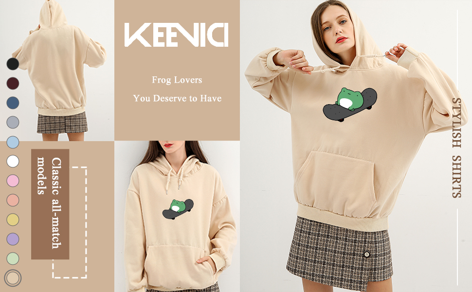 KEEVICI Women's Cute Hoodie Skateboarding Frog Print sweatshirts Aesthetic Clothes Cotton Pullover