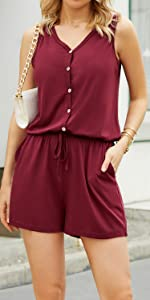 V Neck Front Button Rompers