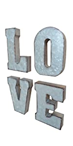 galvanized LOVE 3D letter block home metal letter signs metal decorative letters tin word signs