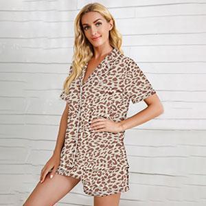 Leopard Print Short Sleeved Shorts Pajamas