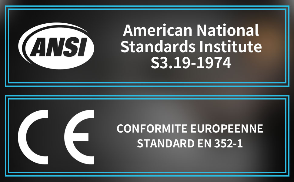 PROHEAR Certified by ANSI S 3.19-1974 amp; CE EN 352-1