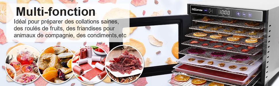 Deshydrateur Alimentaire avec 8 Plateaux Inox Deshydrateur de fruit et legumes Température réglable