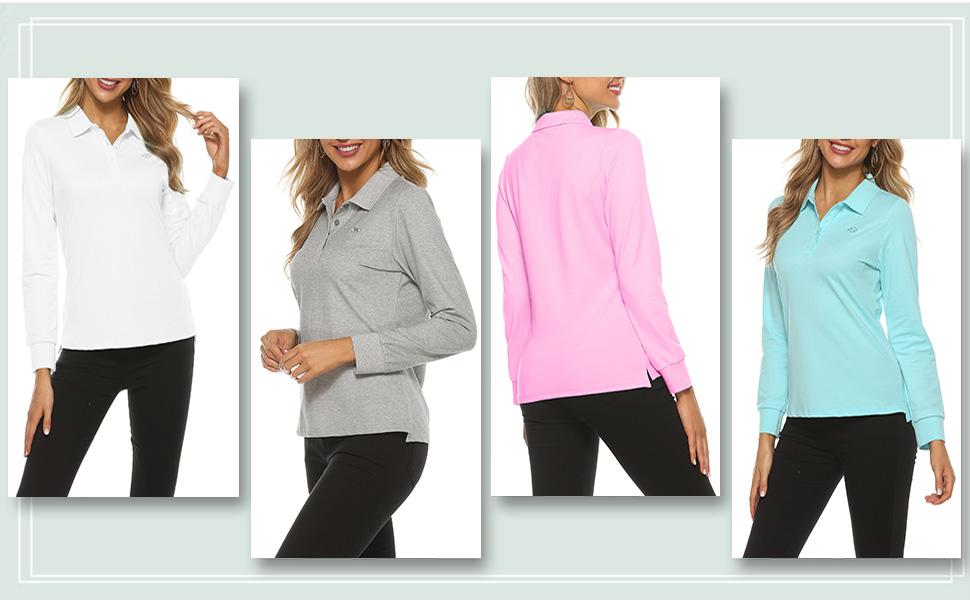 Women's Golf Polo T Shirts Lightweight Moisture Wicking Short Sleeve Shirt Quick Dry 4-Button