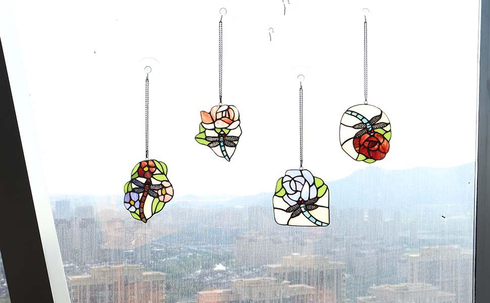 Bieye Dragonfly Flower Tiffany Stained Glass Suncatcher