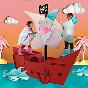 Complementos para la lluvia: paraguas, botas y ponchos de varios colores con dibujos