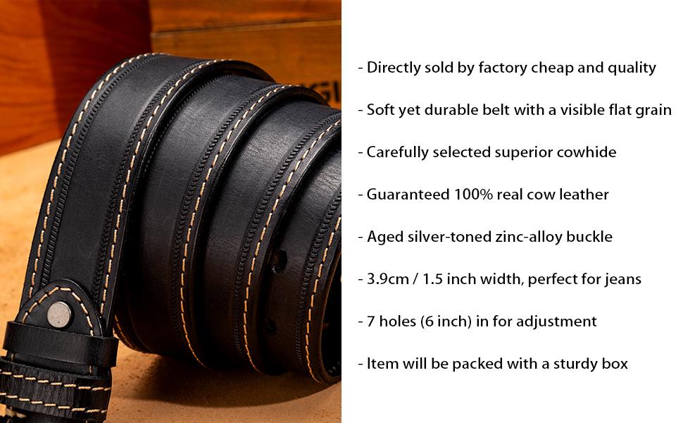 3.9 cm Leather Belt for Men Leather Dress Casual Work Belt for Jean