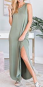 Casual Solid Sleeveless Loose Beach Maxi Dress