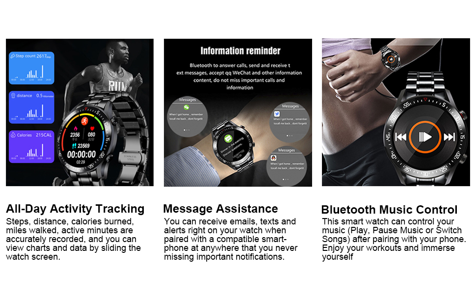 Calorie Pedometer Smart Watch for Men Black