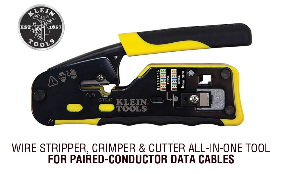 Wire Stripper, Crimper & Cutter All-in-One Tool for Paired-Conductor Data Cables